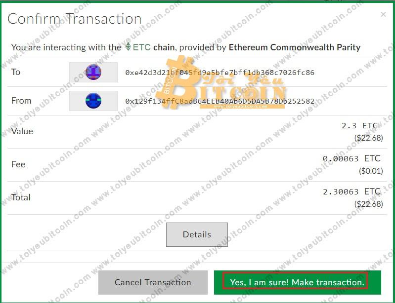 Rút tiền ETC từ ví ClassicEtherWallet. Ảnh 5