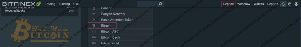 Nạp tiền vào sàn Bitfinex. Ảnh 1