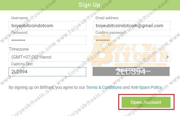 Đăng ký mở tài khoản Bitfinex. Ảnh 3