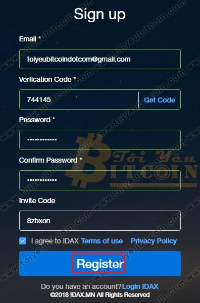Đăng ký tài khoản IDAX. Ảnh 4