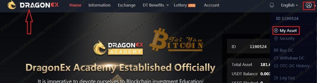 Rút tiền từ sàn DragonEX. Ảnh 1