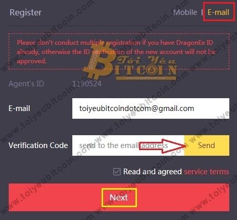 Đăng ký tạo tài khoản DragonEX. Ảnh 1