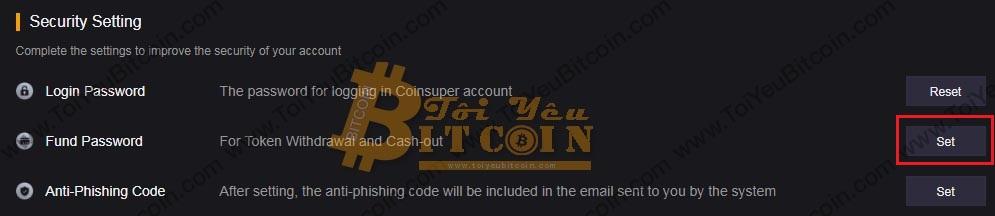 Thiết lập Fund password trên sàn Coinsuper. Ảnh 1