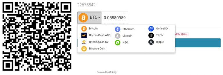 Tùy chọn chấp nhận thanh toán đến 10 đồng coin.