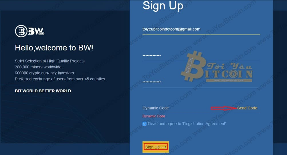 Cách đăng ký tạo tài khoản trên sàn Bw. Ảnh 1