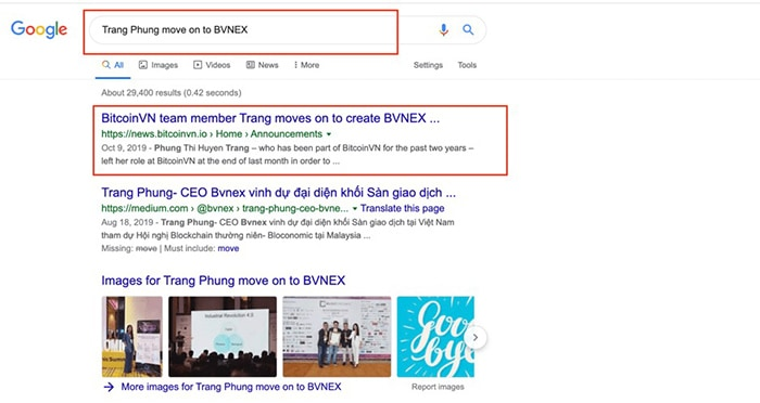 """Vì sao BitcoinVN xóa bài viết chứng tỏ mối quan hệ """"vốn thân thiết"""" với Bvnex? search """"Trang Phung move on to BVNEX"""""""