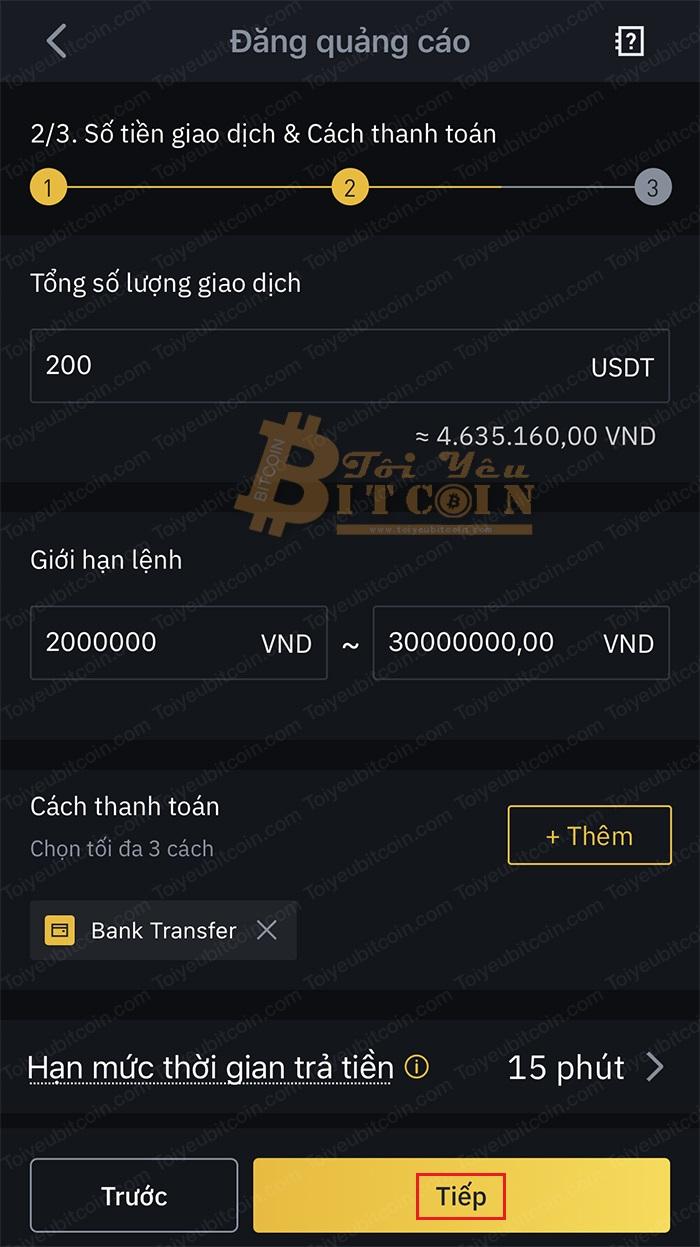 Cách tạo quảng cáo mua coin trên Binance P2P. Ảnh 3