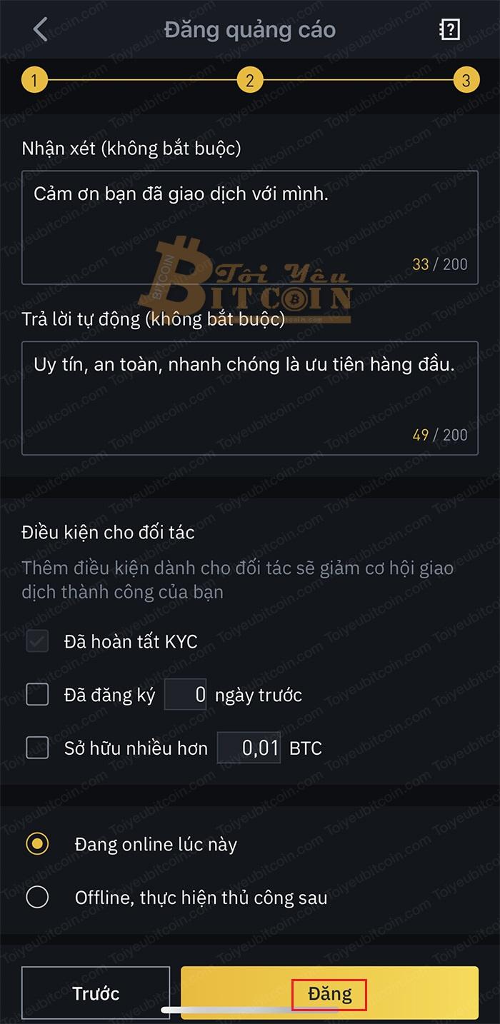 Cách tạo quảng cáo mua coin trên Binance P2P. Ảnh 4