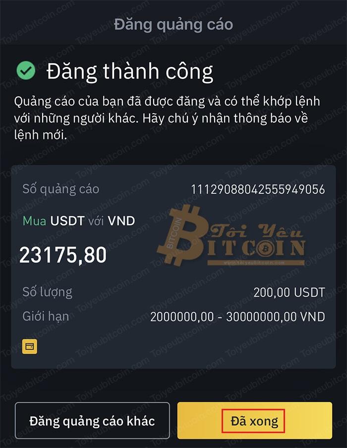 Cách tạo quảng cáo mua coin trên Binance P2P. Ảnh 5