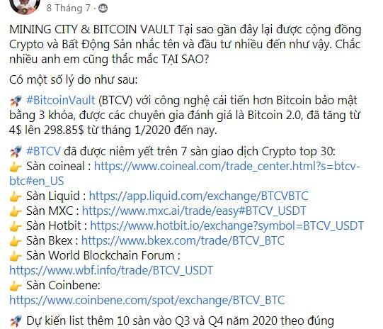 Một nhà đầu tư BTCV mời chào gói đầu tư trong một cộng đồng tài xế xe ôm công nghệ trên Facebook. (Ảnh chụp màn hình)