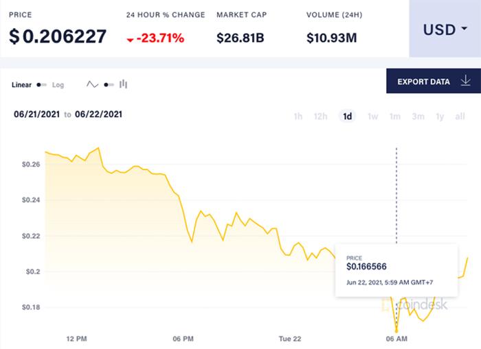 Giá Dogecoin lao dốc mạnh xuống 0,2 USD/đồng. Ảnh: CoinDesk.
